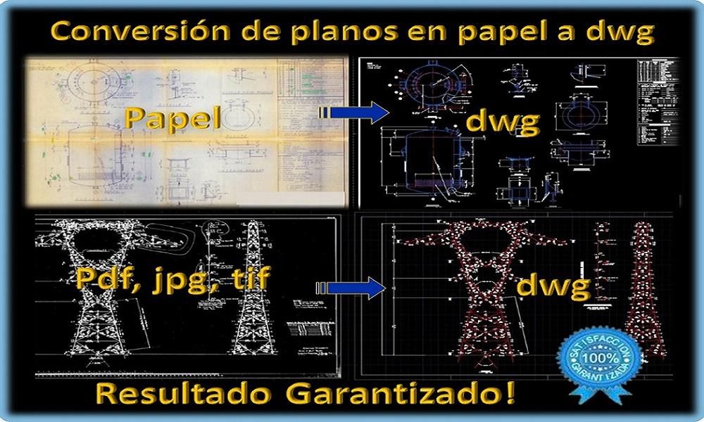 Planos en papel a Autocad, PDF a DWG